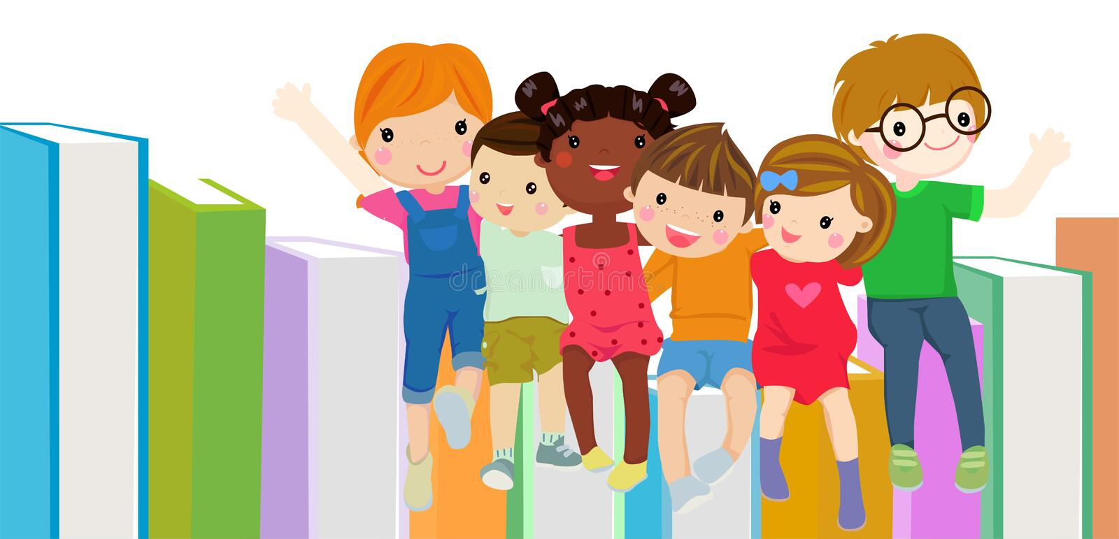 Group of children and books royalty free stock photos