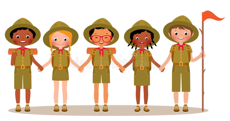 Group of children boys and girls scouts in the uniform royalty free illustration