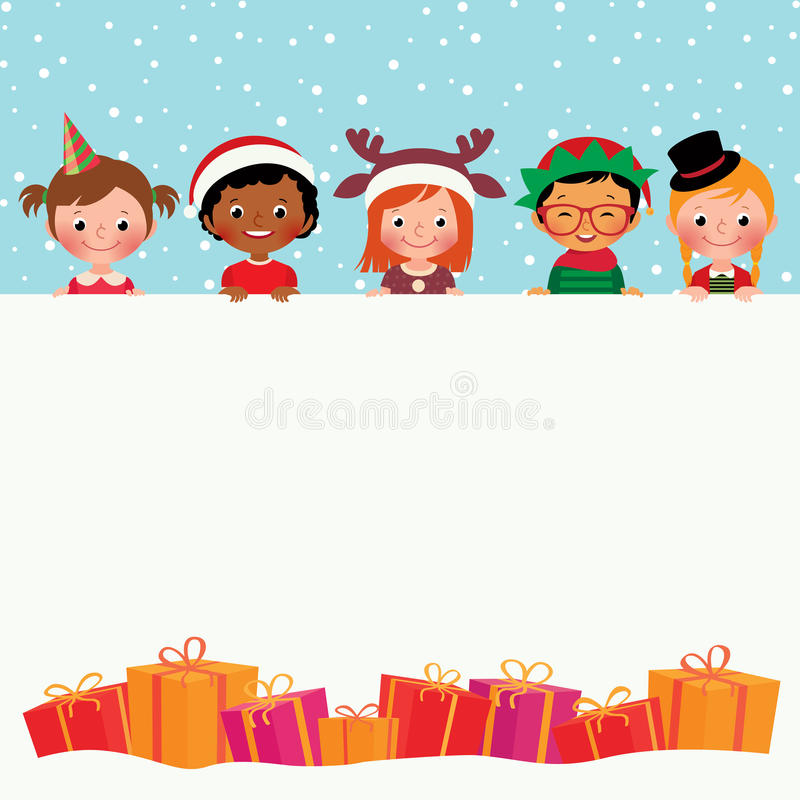 Group of children in costumes and Christmas gifts. Stock vector illustration of Christmas Card Children in holiday costumes and gifts vector illustration