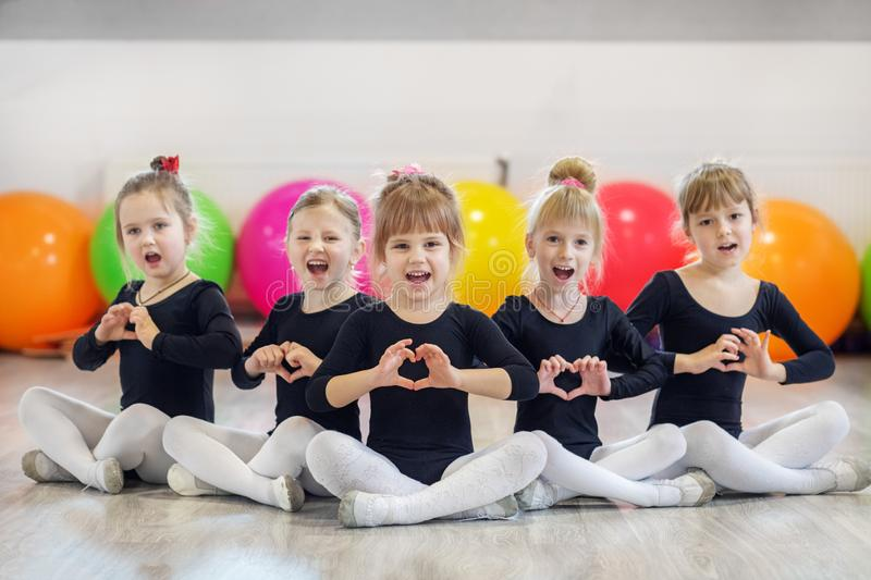 A group of children in dance classes. The concept of sport, education, childhood, hobbies and dance stock photography