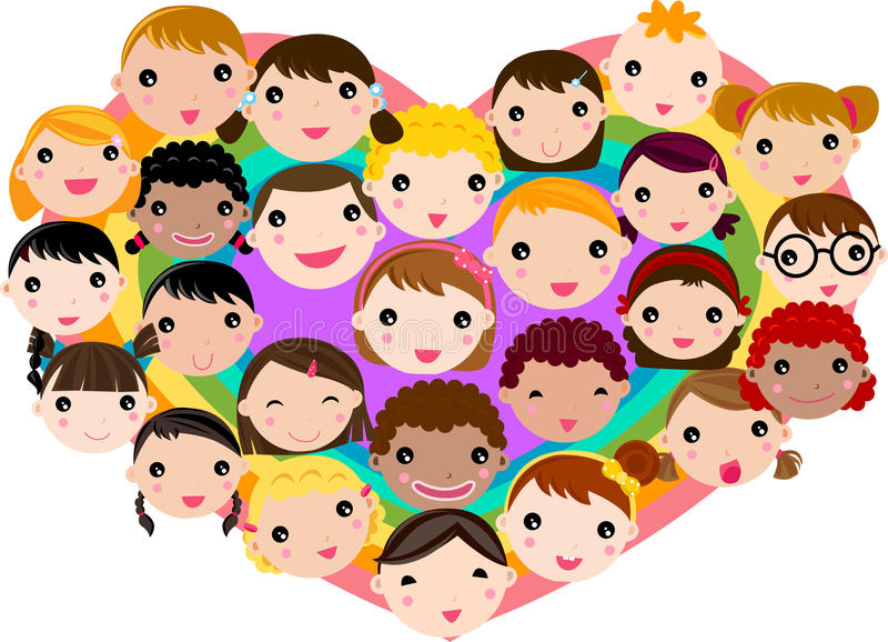 Download Group of children face stock vector. Image of blond, illustration - 27844733
