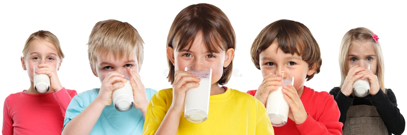 Group of children girl boy drinking milk kids glass healthy eating banner isolated on white. Group of children girl boy drinking milk kids glass healthy eating royalty free stock photos