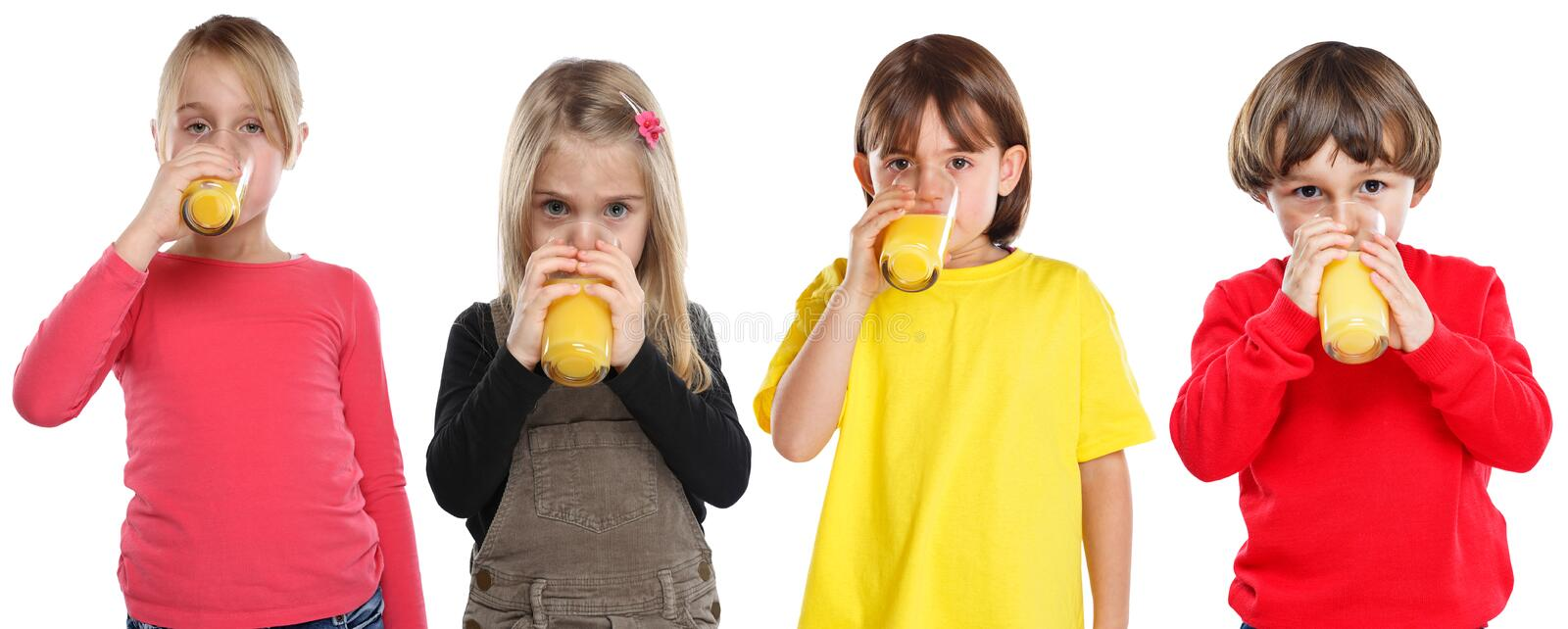 Group of children girl boy kids drinking orange juice healthy eating isolated on white. Group of children girl boy kids drinking orange juice healthy eating stock images