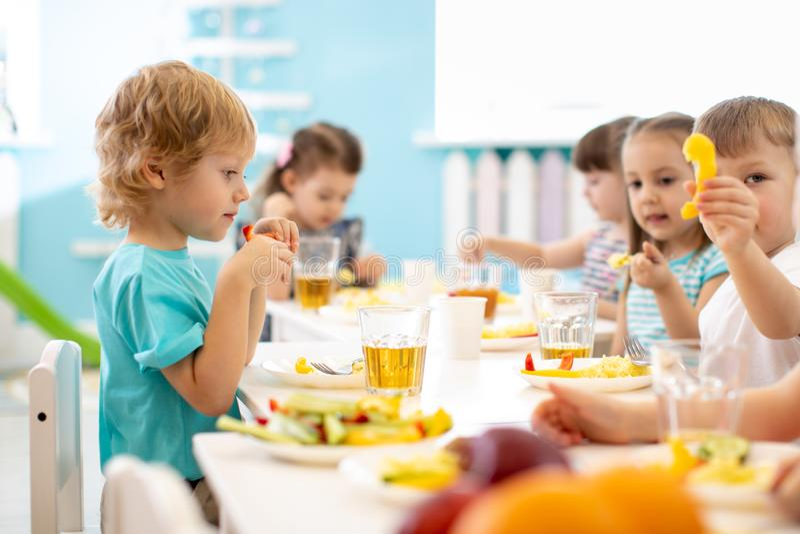 Group of children have dinner. Kids eat healthy food in kindergarten. royalty free stock image