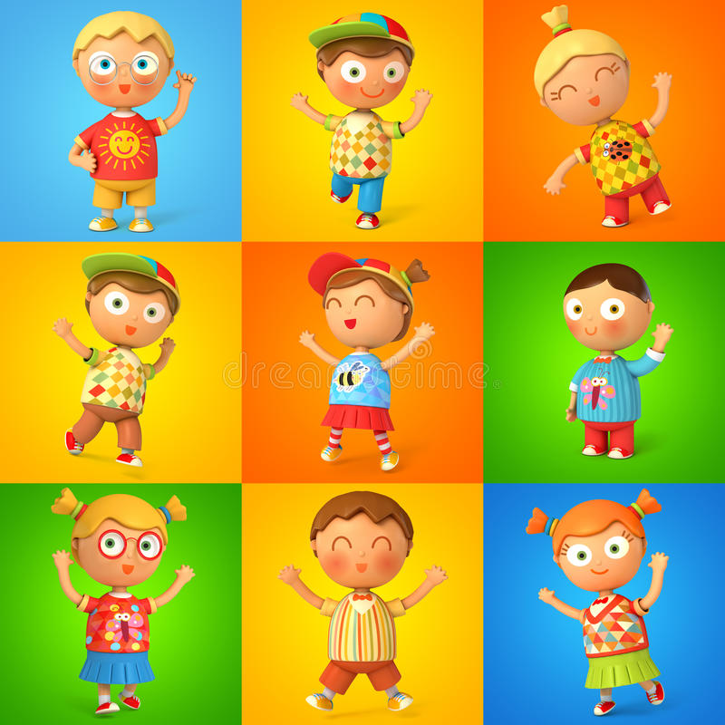Group of children jumping royalty free illustration