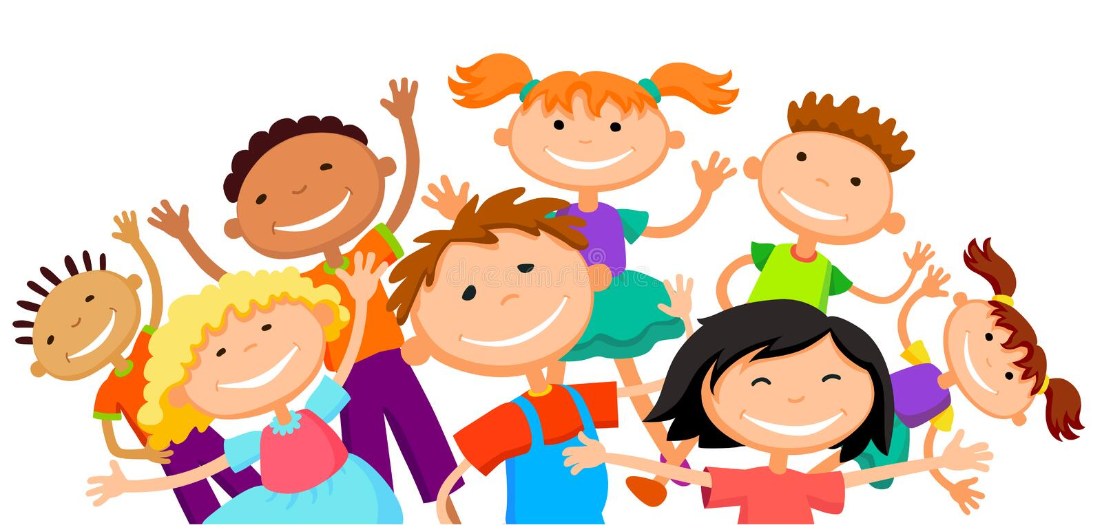 Group of children kids are jumping joyful white background bunner cartoon funny vector character. illustration royalty free illustration