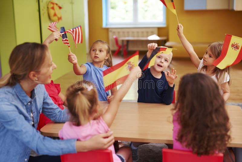 Group of  children learning languages stock images