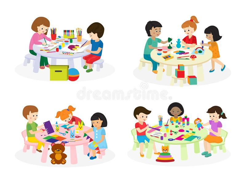 Group of children painting on paper at table in kindergarten paint lesson kids characters club house vector illustration vector illustration
