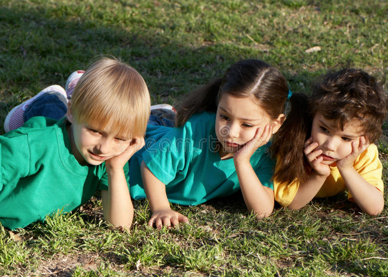Group of children in park royalty free stock photo