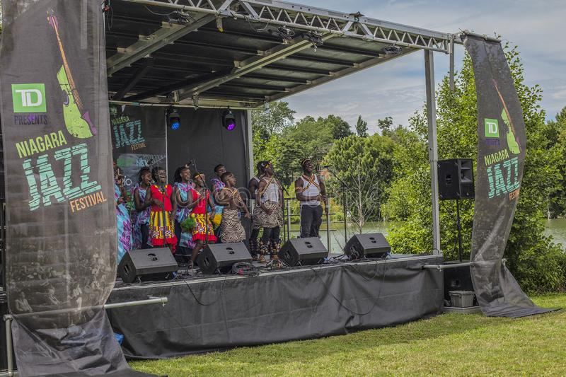 ST.Catharines/Canada/07-21-2019 THE TD NIAGARA JAZZ FESTIVAL, NEEMA CHILDREN`S CHOIR. A group of children performs African folk music THE TD NIAGARA JAZZ royalty free stock images