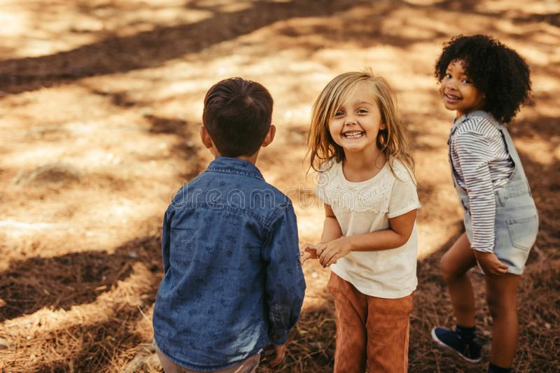 Group of children playing in forest royalty free stock photos