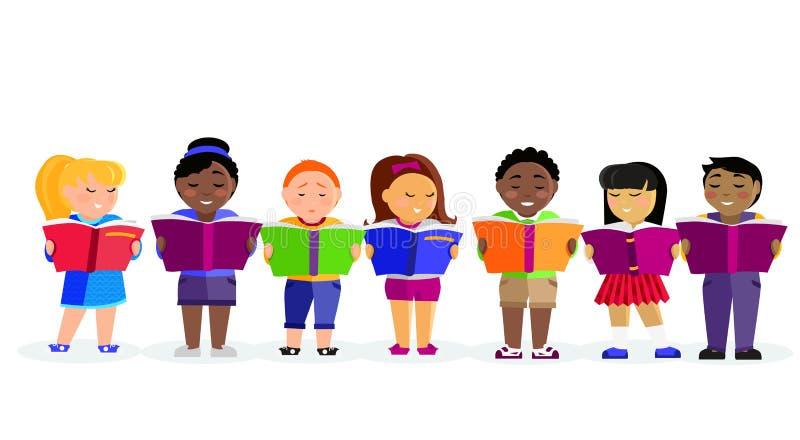 Group of Children Reading Books royalty free illustration