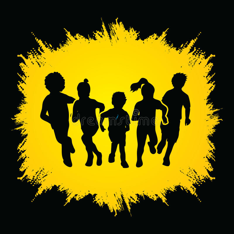 Group of Children running. Graphic vector royalty free illustration