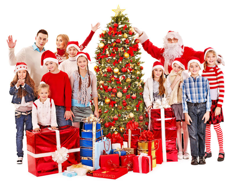 Download Group Of Children With Santa Claus. Stock Photo - Image: 27569054