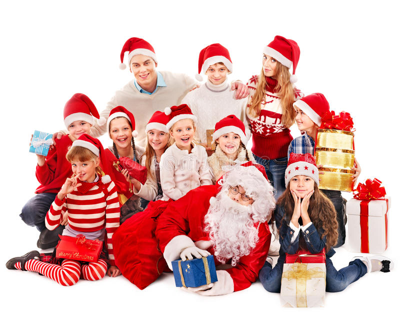 Download Group Of Children With Santa Claus. Stock Photo - Image: 27677416