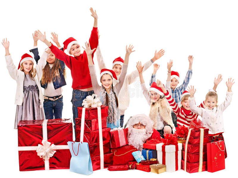 Download Group Of Children With Santa Claus. Stock Image - Image: 27677419