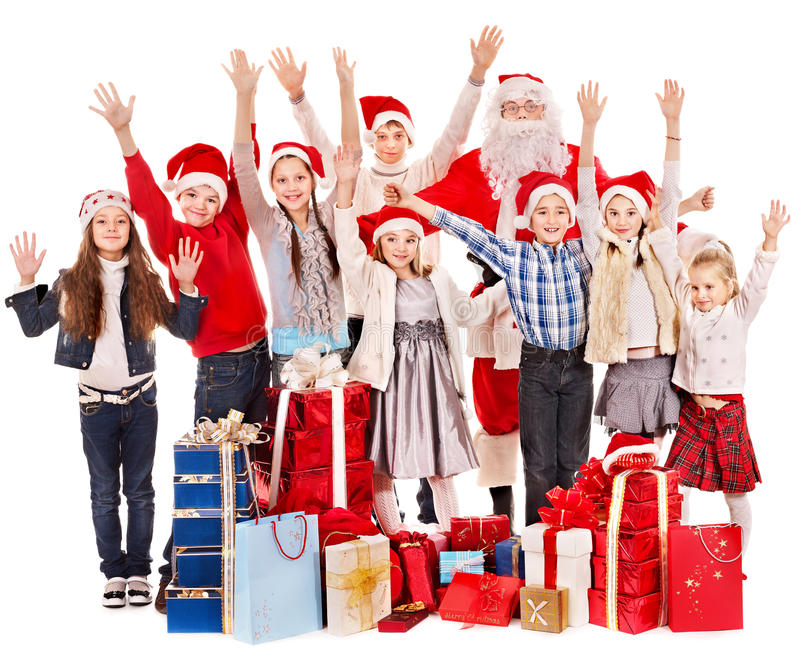Download Group Of Children With Santa Claus. Stock Image - Image: 27677505