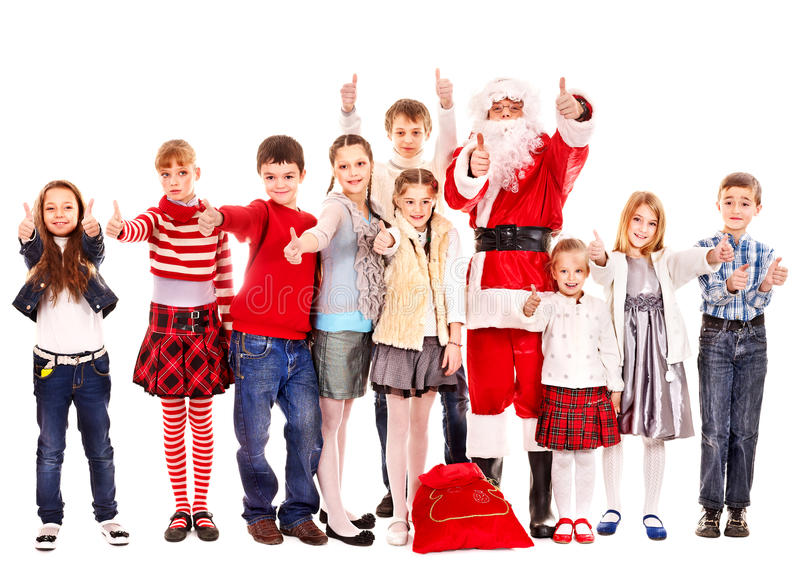 Group of children with Santa Claus. Isolated stock image