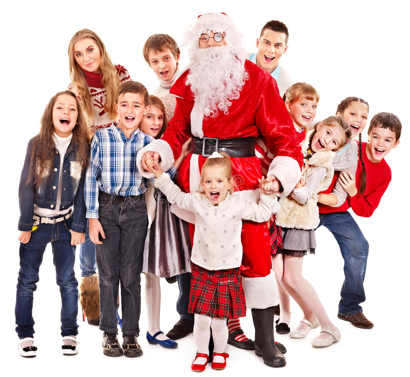 Download Group Of Children With Santa Claus. Stock Photo - Image: 27849698