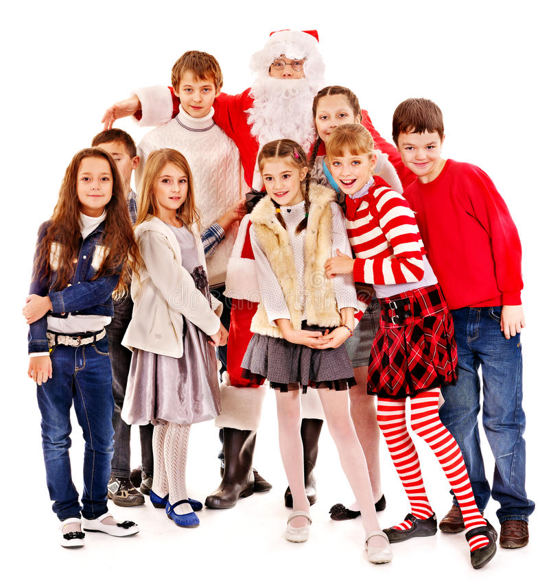 Group of children with Santa Claus. Isolated stock photos