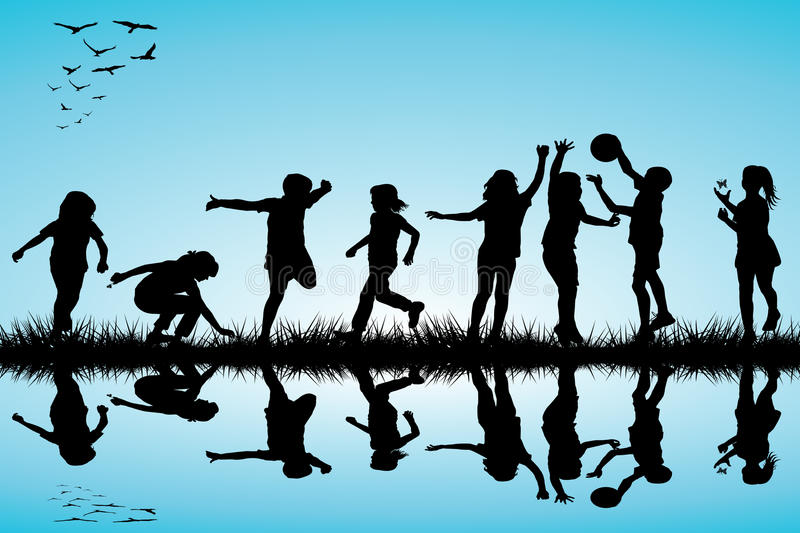 Group of children silhouettes playing outdoor vector illustration