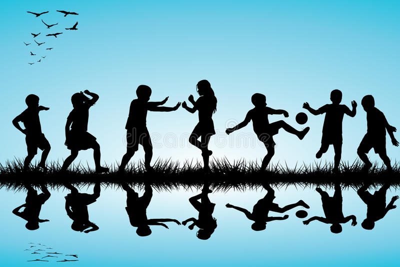 Group of children silhouettes playing outdoor near stock illustration