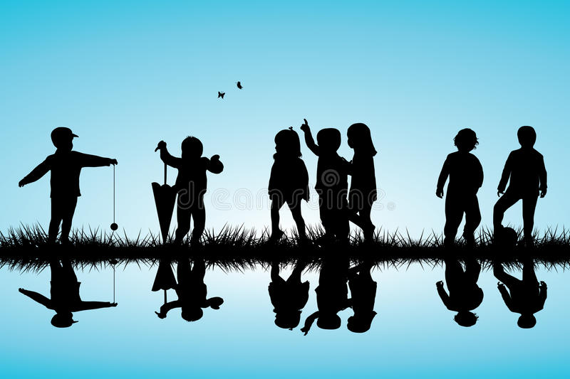 Group of children silhouettes playing outdoor near royalty free illustration