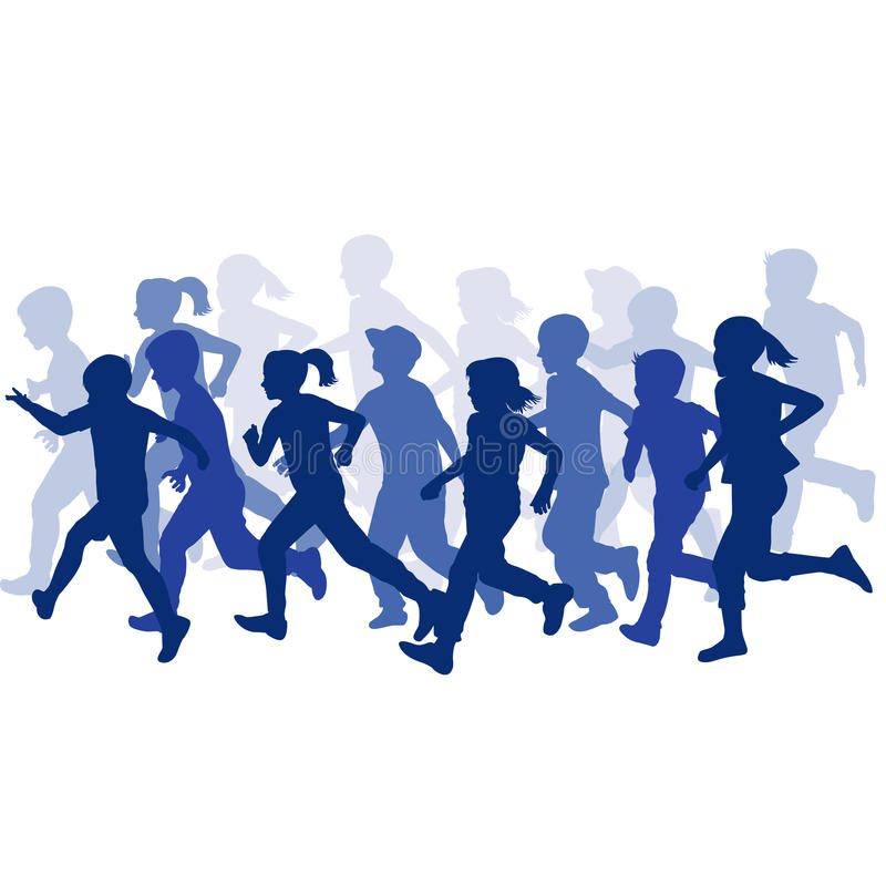 Group of children silhouettes running vector illustration