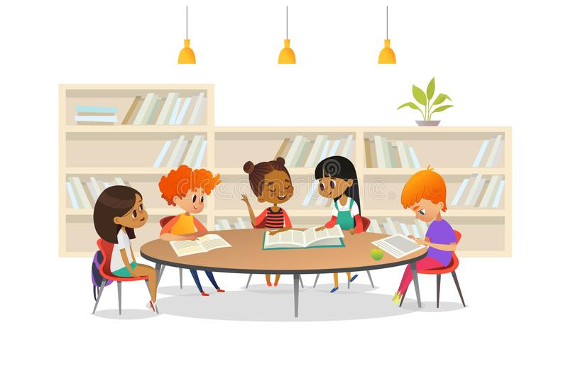 Group of children sitting around table at school library and listening to girl reading book out loud against bookcase or royalty free illustration