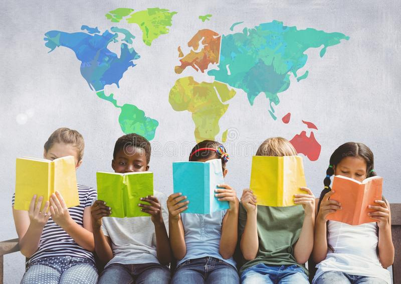 Group of children sitting and reading in front of colorful world map stock illustration