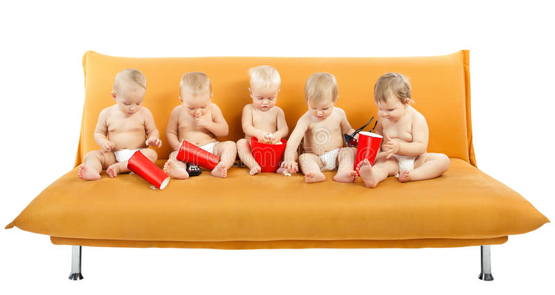 Children Group Watch Cinema Popcorn, Kids On White Stock Photography