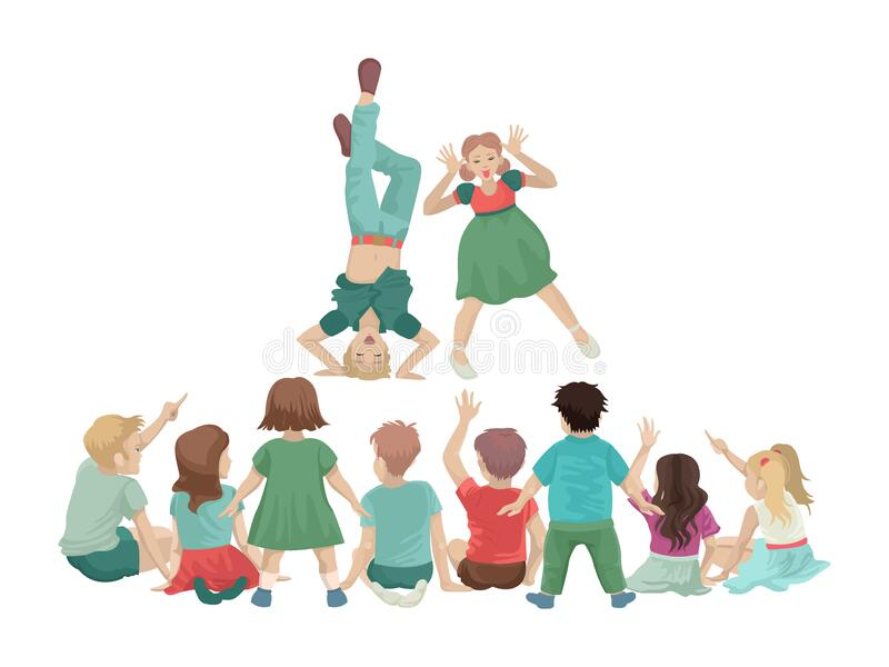 Children stand in front of a group of small students. Fun performance. Vector illustration royalty free illustration