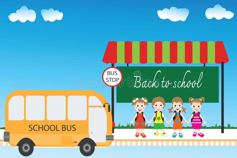 Group of children students at bus stop, back to school. stock illustration