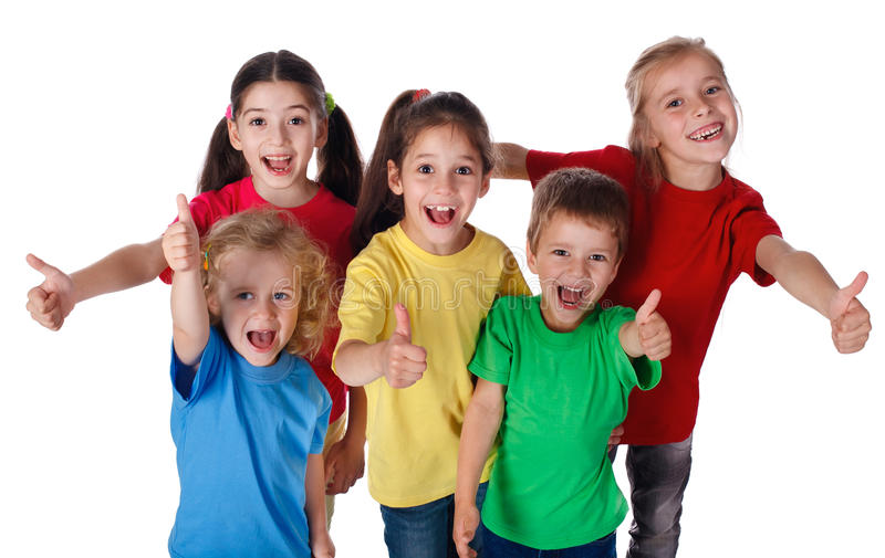 Group of children with thumbs up sign stock photography