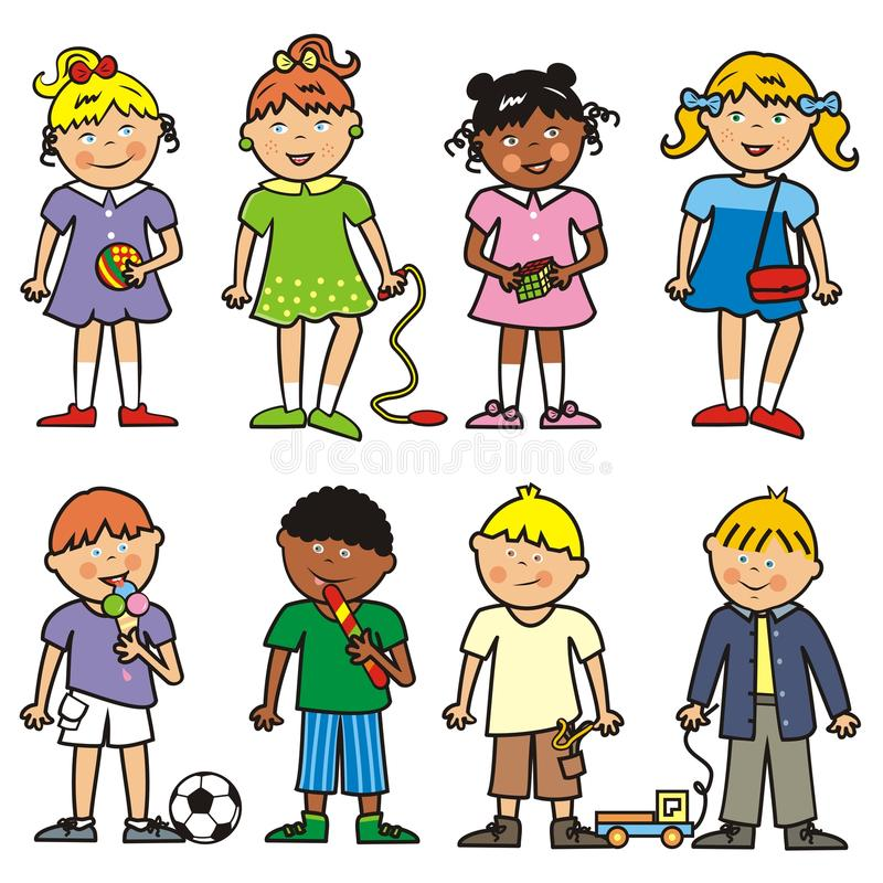 Group of children, girls and boys, vector icon stock illustration