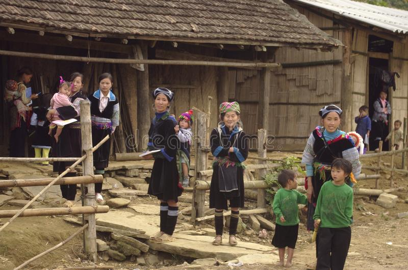 Group of children and women Blue Hmong royalty free stock photography