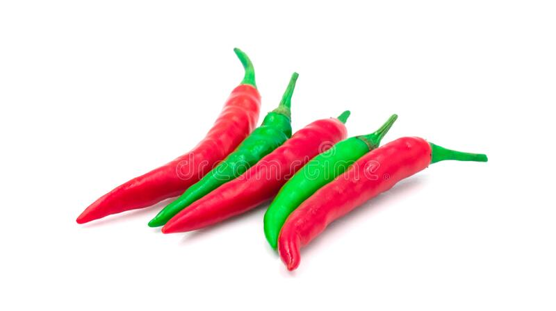 Group of chilli green and red hot spicy vegetable. Alternate colors ingredient food. Isolated on white background royalty free stock images
