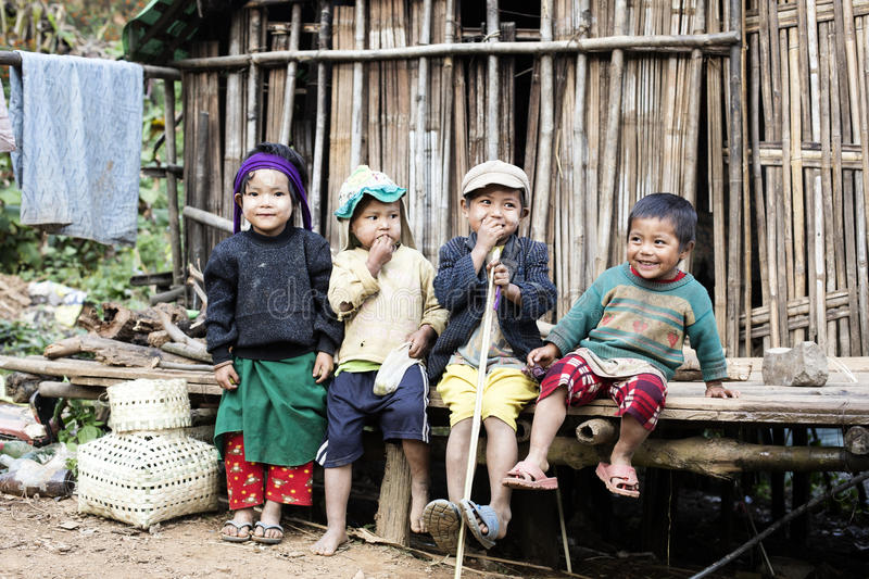 Group of Chin children posing for a photo. KANPETLET, MYANMAR - DECEMBER 9 : Group of Chin children posing for a photo on December 9, 2015 Kanpetlet, Myanmar stock photography