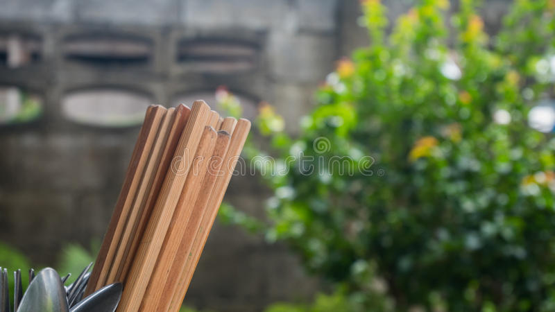 Group of chopsticks with blur background.  stock images