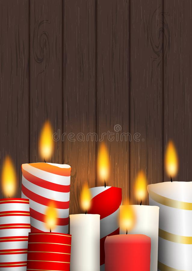 Group of Christmas burning candles on wood stock illustration