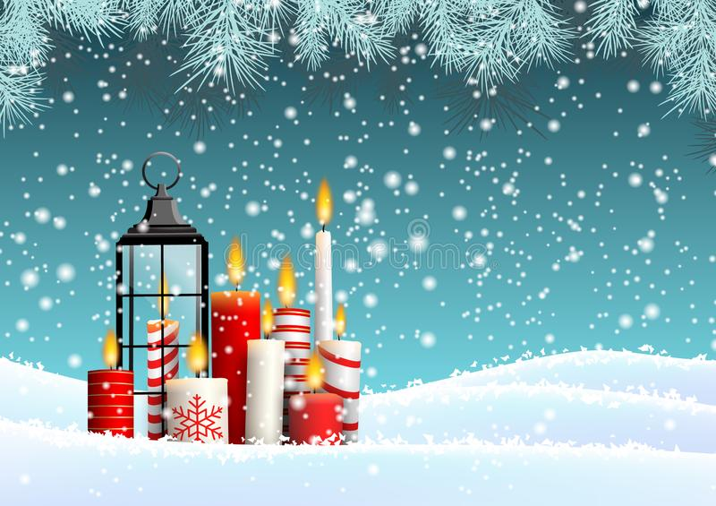 Group of Christmas candles in snowy landscape vector illustration