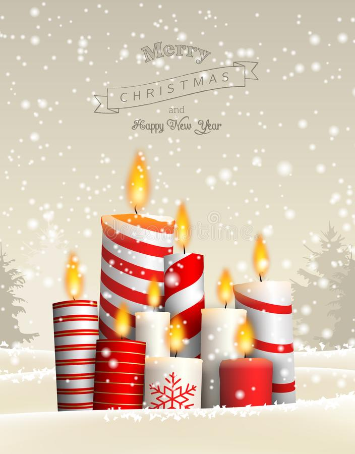 Group of Christmas candles in snowy landscape stock illustration