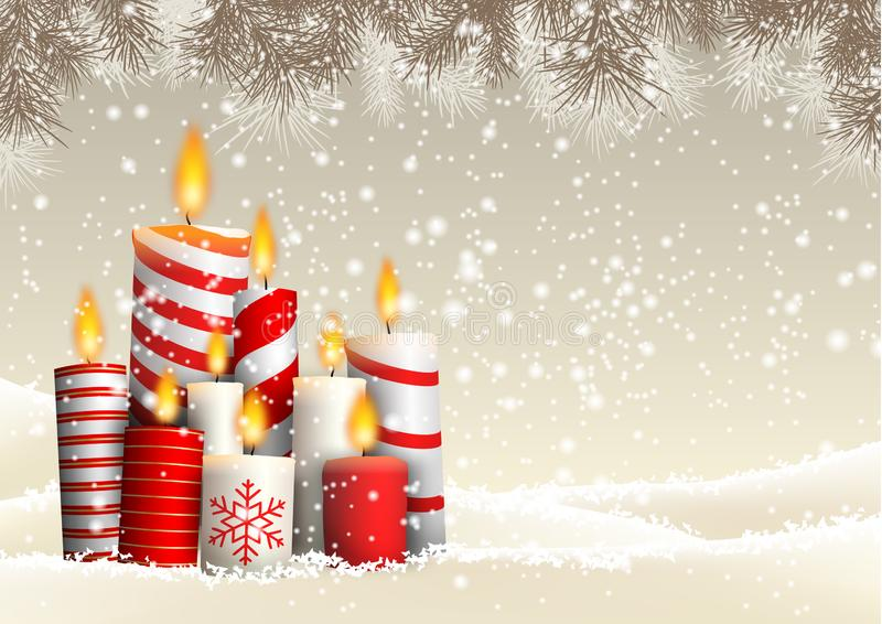 Group of Christmas candles in snowy landscape royalty free illustration