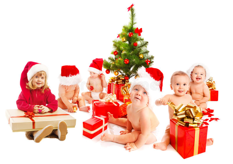 Group of Christmas kids stock image
