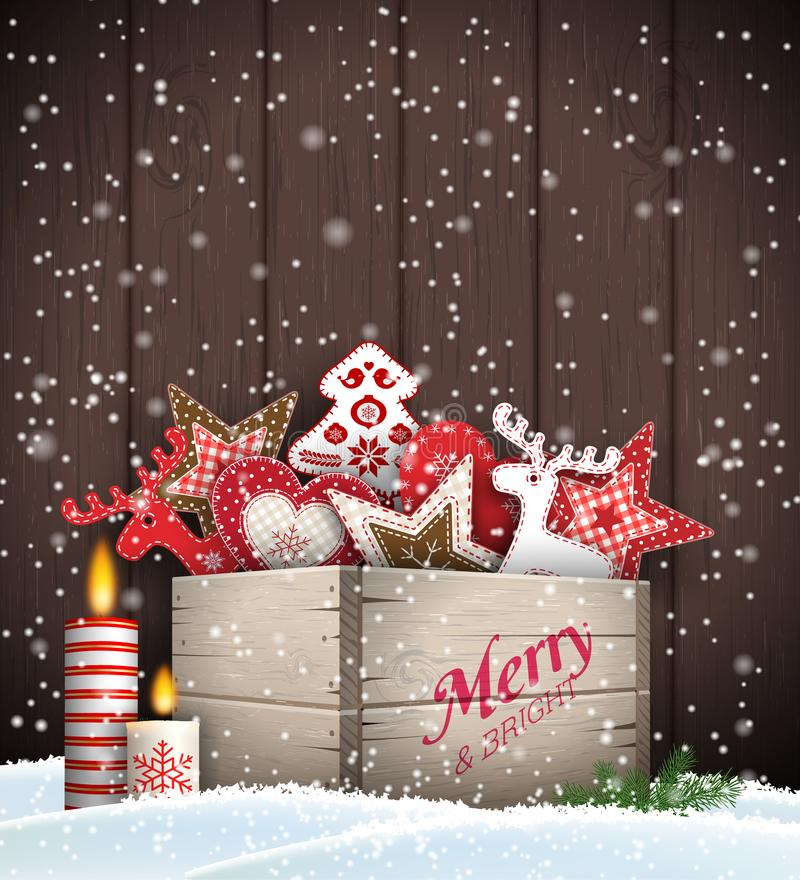 Group of Christmas ornaments in old wooden box. Standing in snow, in front of dark brown wooden wall, holidays theme, vector illustration, eps 10 with stock illustration