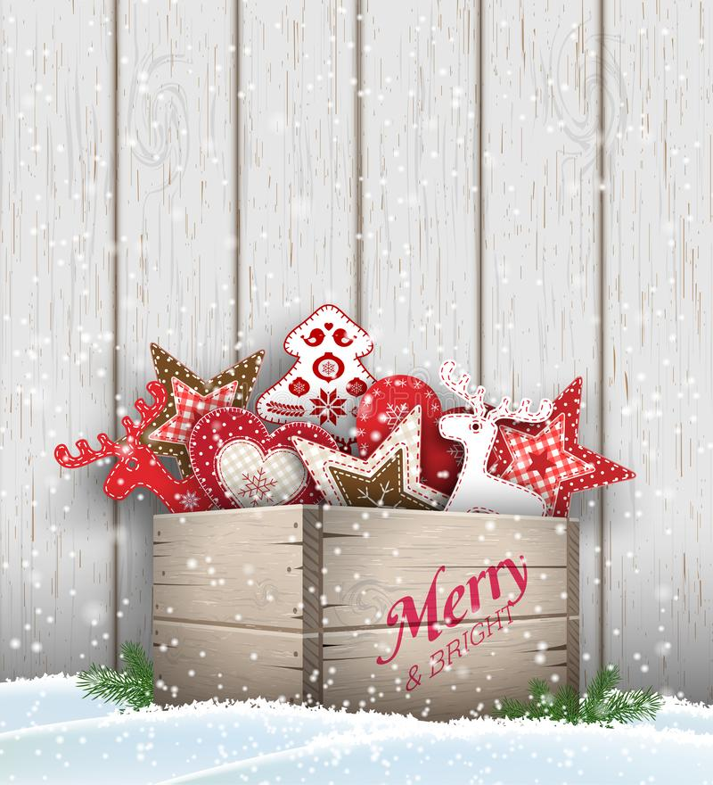 Group of Christmas ornaments in old wooden box. Standing in snow, in front gray wooden wall, holidays theme, vector illustration, eps 10 with transparency and vector illustration