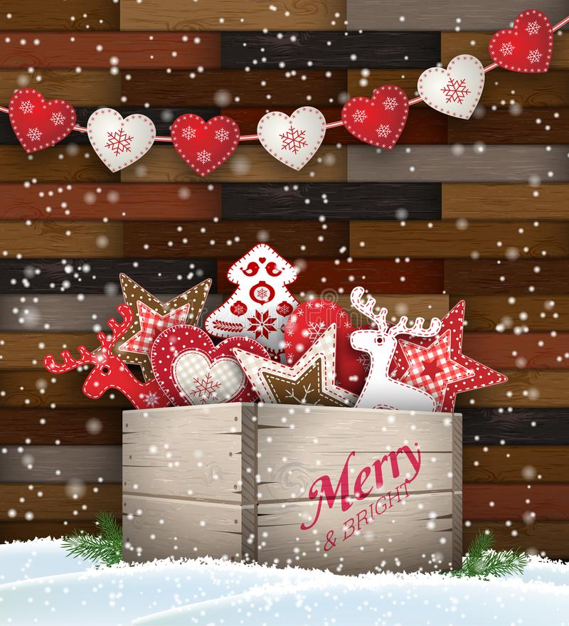 Group of Christmas ornaments in old wooden box vector illustration