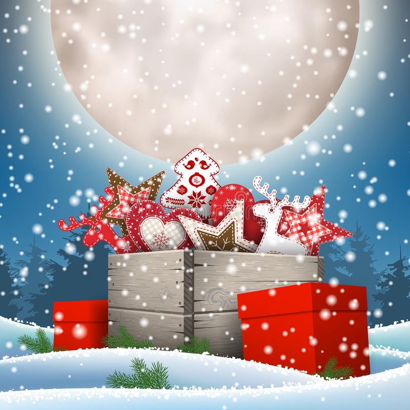 Group of Christmas ornaments in old wooden box. Standing in snow under big shiny moon, holidays theme, vector illustration, eps 10 with transparency and stock illustration
