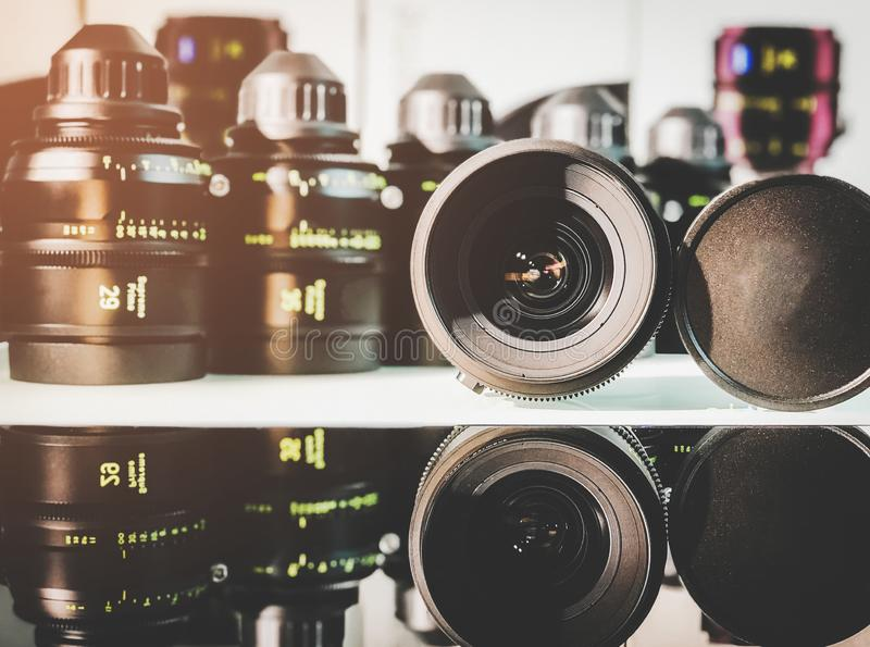 Group of cinema lens royalty free stock image