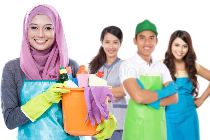 Group of cleaning services ready to do the chores royalty free stock photography
